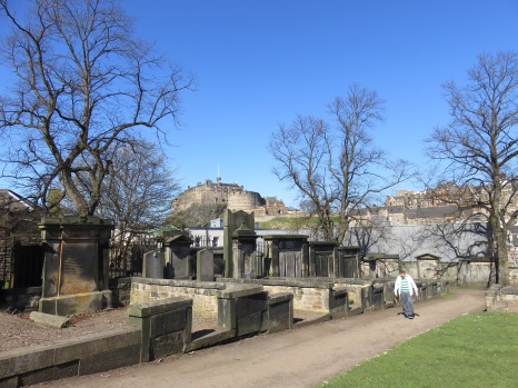 Greyfriars Kirkyard, with Edinburgh Castle in the background.